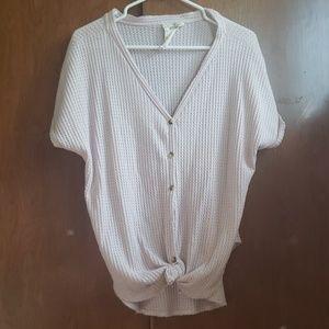 Button up waffle knit shirt